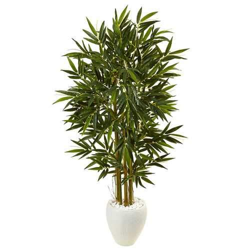 5.5 Bamboo Tree in White Oval Planter Silk