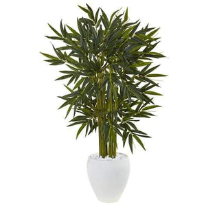 4.5 Bamboo Tree in White Oval Planter Silk