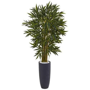 6.5 Bamboo Tree in Gray Cylinder Planter Silk