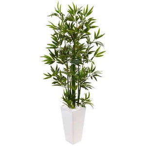 4.5 Bamboo Tree in White Tower Planter Silk
