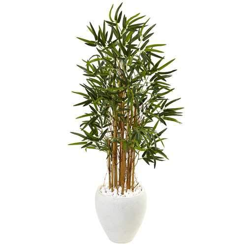 4 Bamboo Tree in White Oval Planter Silk