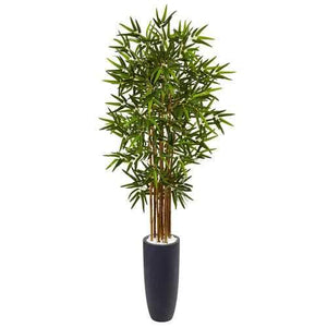 5 Bamboo Tree in Gray Cylinder Planter Silk