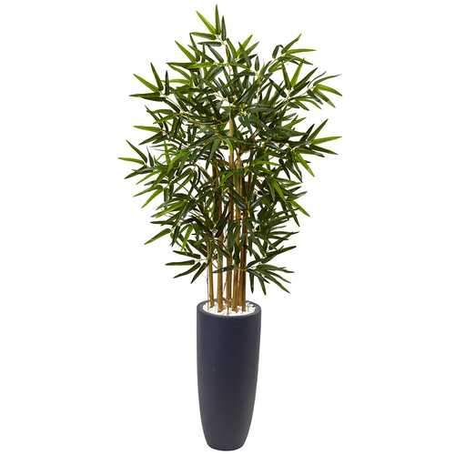 4 Bamboo Tree in Gray Cylinder Planter Silk