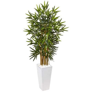4 Bamboo Tree in White Tower Planter Silk