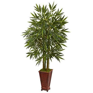 5.5 Bamboo Tree in Decorative Wood Planter Silk