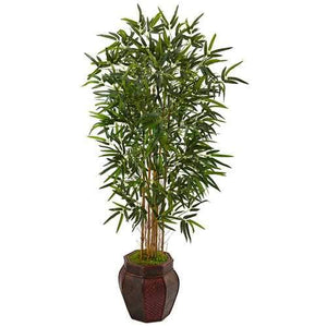 5 Bamboo Tree in Weave Design Planter Silk