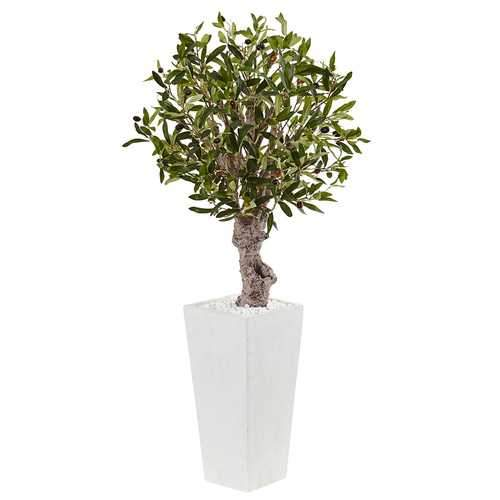 3.5 Olive Tree in White Tower Planter Silk