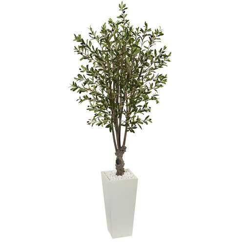 6' Olive Artificial Tree in White Tower Planter Silk Trees