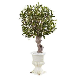3 Olive Tree in White Urn Silk