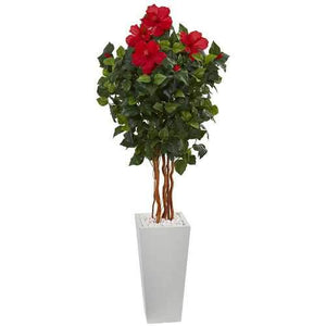 5' Hibiscus Artificial Tree in White Tower Planter Silk Trees
