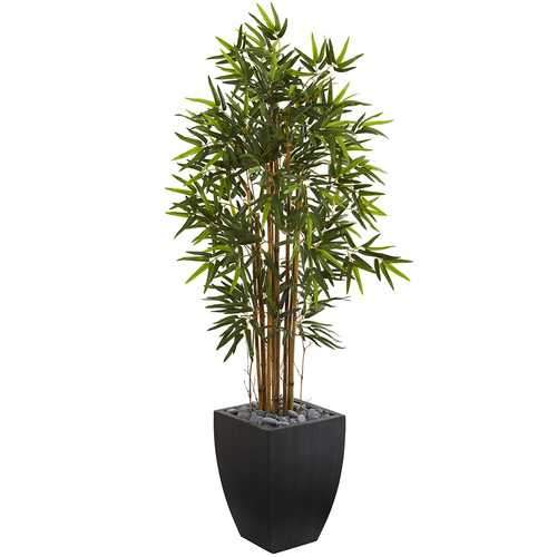 5' Bamboo Artificial Tree in Black Wash Planter Silk Trees