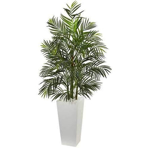 5' Areca Artificial Palm Tree in White Planter UV Resistant (Indoor/Outdoor) Silk Trees