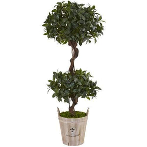 4.5 Sweet Bay Double Topiary Tree in Farmhouse Planter Silk