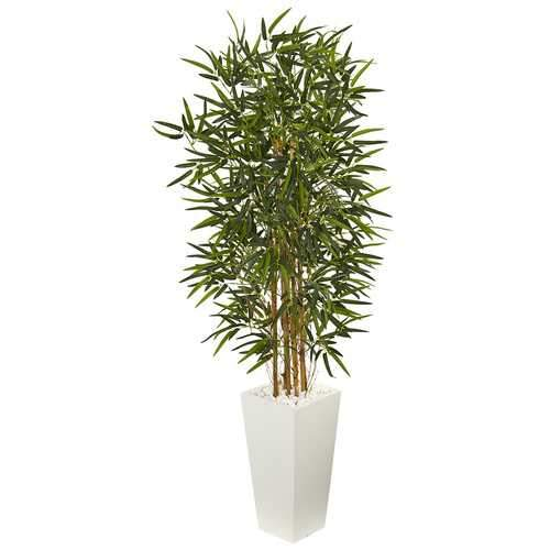 5.5' Bamboo Artificial Tree in White Tower Planter Silk Trees
