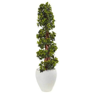 4 English Ivy Topiary Tree in White Oval Planter UV Resistant (Indoor/Outdoor) Silk