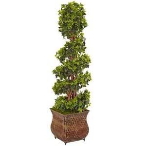 4 English Ivy Spiral Tree in Metal Planter UV Resistant (Indoor/Outdoor) Silk