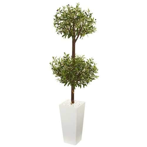 5.5' Olive Artificial Double Topiary Tree in White Tower Planter Silk Trees