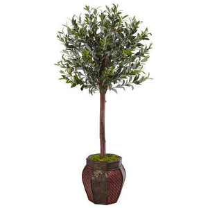 4.5 Olive Topiary Tree in Weave Panel Planter Silk