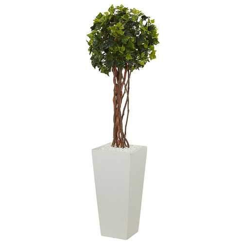 3' English Ivy Artificial Tree in White Tower Planter UV Resistant (Indoor/Outdoor) Silk Trees