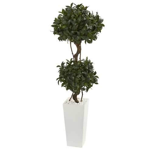 5' Sweet Bay Artificial Double Topiary in White Tower Planter Silk Trees