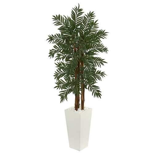 5.5' Parlor Palm Artificial Tree in White Tower Planter Silk Trees