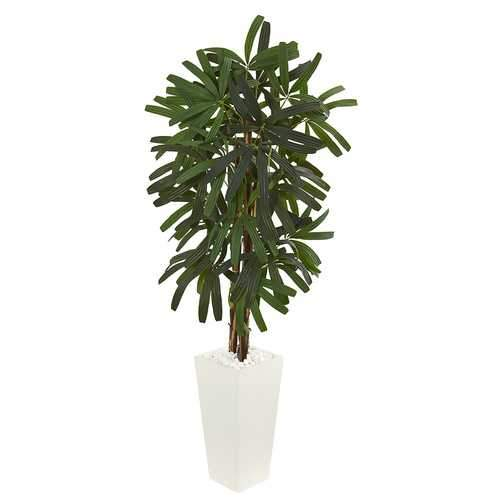 5.5' Raphis Palm Artificial Tree in White Tower Planter Silk Trees