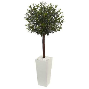 5' Olive Topiary Artificial Tree in White Tower Planter Silk Trees