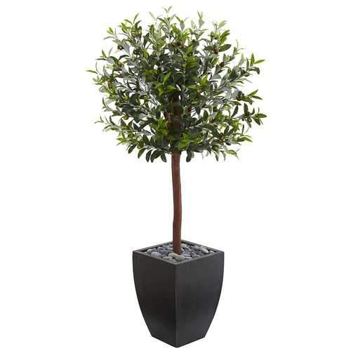 4.5' Olive Topiary Artificial Tree in Black Washed Planter Silk Trees