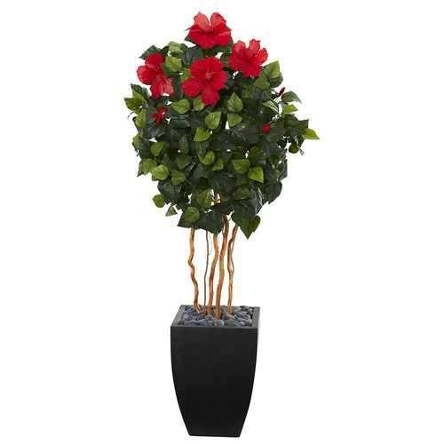 4.5' Hibiscus Artificial Tree in Black Washed Planter Silk Trees