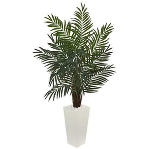 5.5' Areca Artificial Palm Tree in White Tower Planter Silk Trees