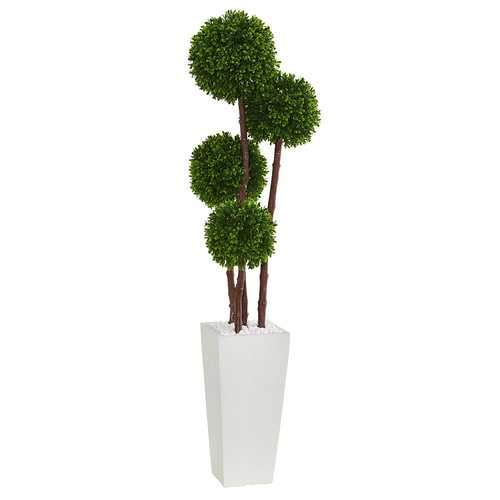 4' Boxwood Topiary Artificial Tree in Planter UV Resistant (Indoor/Outdoor) Silk Trees