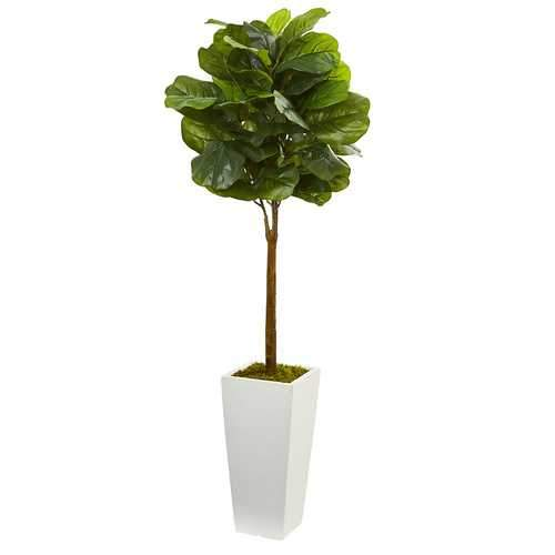 4' Fiddle Leaf Artificial Tree in White Tower Planter Silk Trees