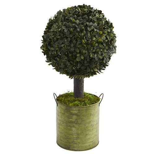 1.5 Boxwood Ball Topiary Artificial Tree in Green Tin (Indoor/Outdoor) Silk Trees