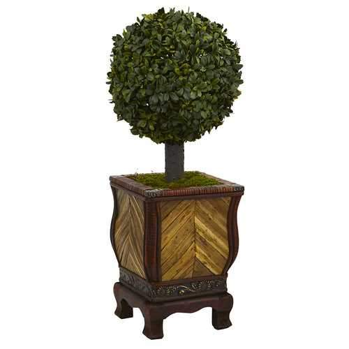 27 Boxwood Ball Topiary Artificial Tree in Decorative Planter Silk Trees