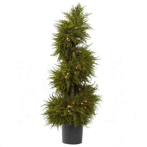 43 Cedar Spiral Topiary w/Lights Silk Tree