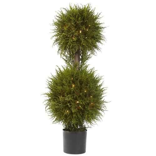 40 Cedar Double Ball Topiary w/Lights Silk Tree