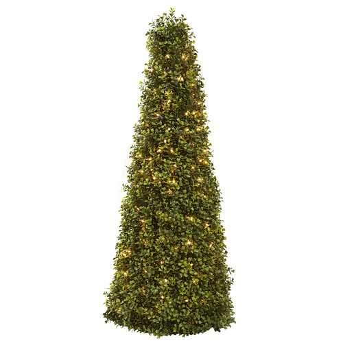 39 Boxwood Cone w/Lights Silk Tree
