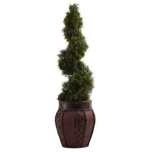 Cedar Spiral w/Decorative Planter Silk Tree
