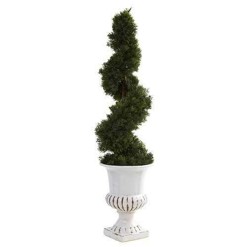 Cedar Spiral w/Urn (Indoor/Outdoor) Silk Tree