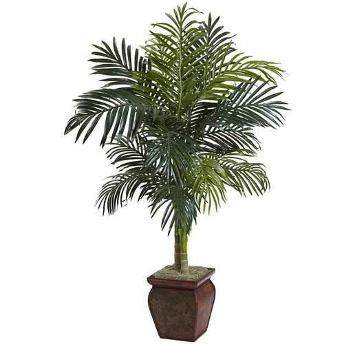 4.5 Golden Cane Palm w/Decorative Container Silk Tree
