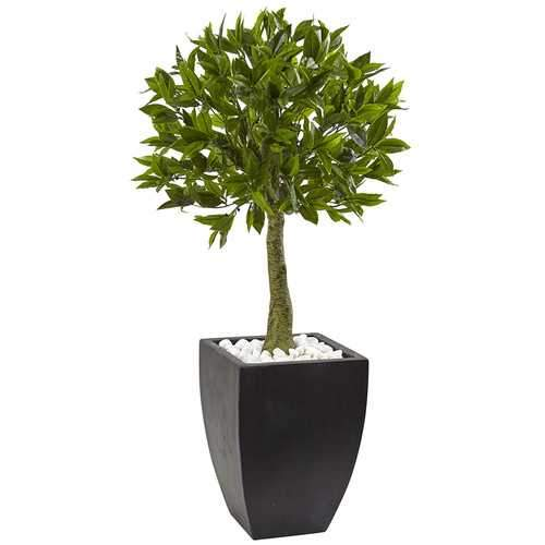 Bay Leaf Topiary with Black Wash Planter UV Resistant (Indoor/Outdoor) Silk Tree