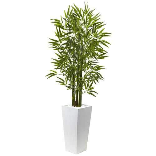 Bamboo Tree with White Planter UV Resistant (Indoor/Outdoor) Silk