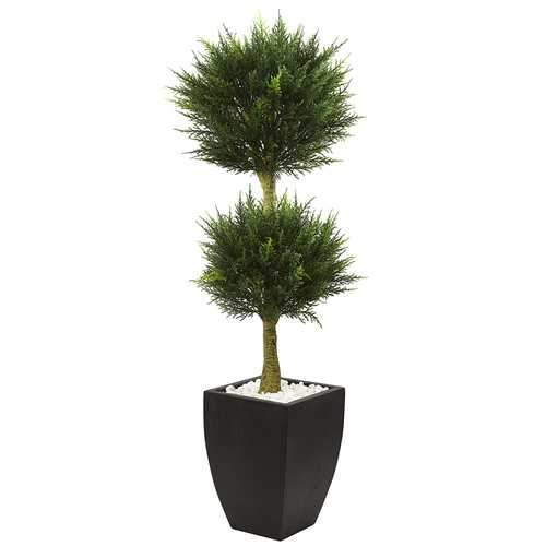 Cypress Topiary with Black Planter UV Resistant (Indoor/Outdoor) Silk Tree