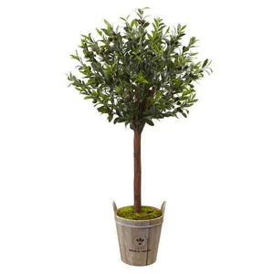 Olive Topiary Tree with Farmhouse Planter Silk