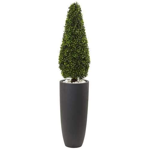 50 Boxwood Topiary with Gray Cylindrical Planter UV Resistant (Indoor/Outdoor) Silk Tree