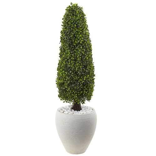 Boxwood Topiary with White Planter UV Resistant (Indoor/Outdoor) Silk Tree