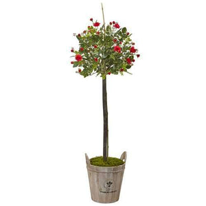 Rose Topiary with Farmhouse Planter Silk Tree