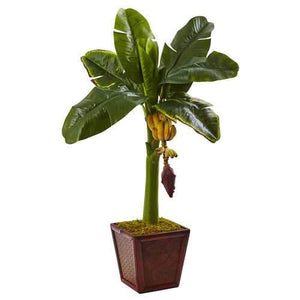 Banana Tree in Wooden Planter Silk Plant