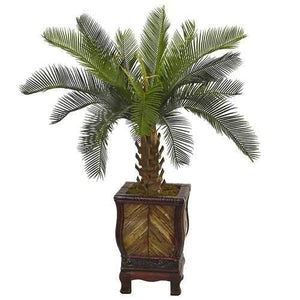 3 Cycas Tree in Wood Planter Silk