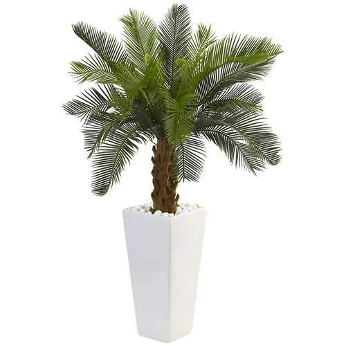 3 Cycas Tree in White Tower Planter Silk